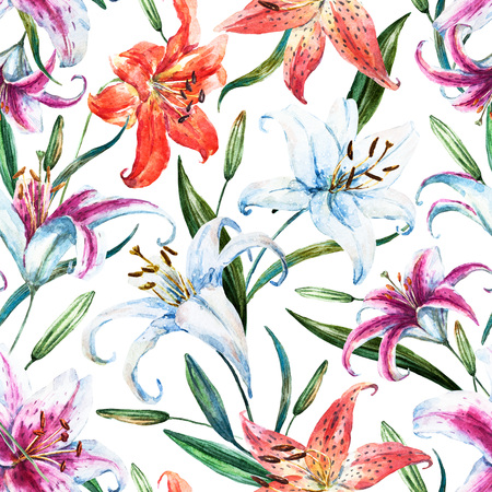 orange lily: Beautiful raster pattern with nice watercolor tropical lillies