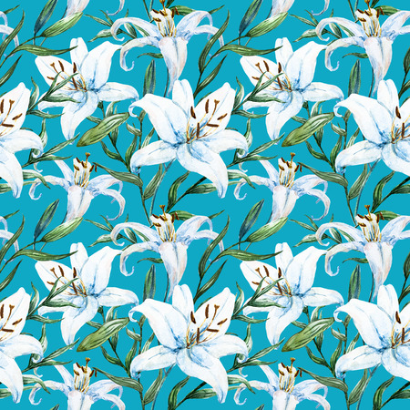 allover: Beautiful raster pattern with nice watercolor tropical lillies