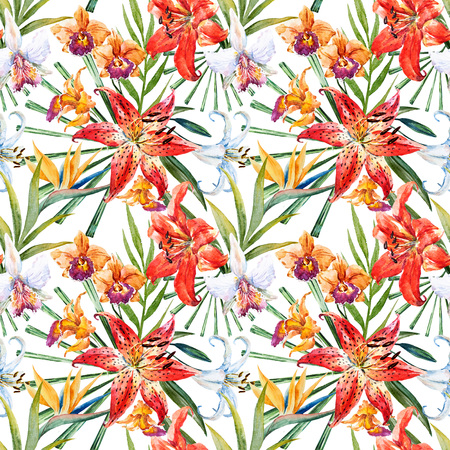 Beautiful raster pattern with nice watercolor tropical lillies