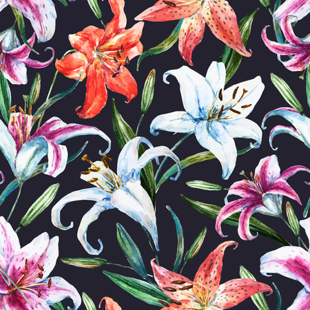 Beautiful vector pattern with nice watercolor tropical lillies Illusztráció