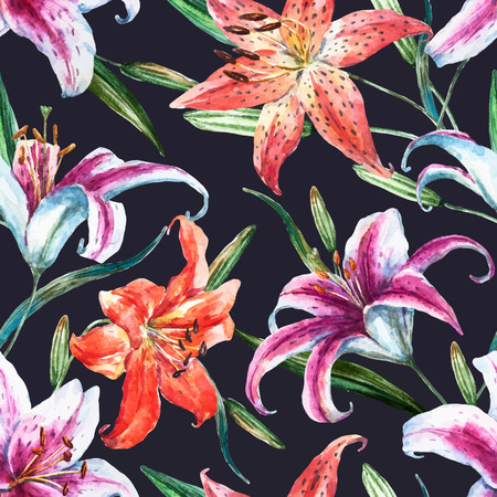 allover: Beautiful vector pattern with nice watercolor tropical lillies Illustration