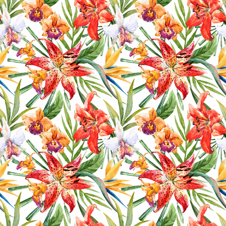 lillies: Beautiful vector pattern with nice watercolor tropical lillies Illustration
