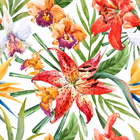 pink flowers: Beautiful vector pattern with nice watercolor tropical lillies Illustration