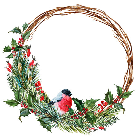 green ribbon: Beautiful raster image with nice hand drawn watercolor christmas wreath