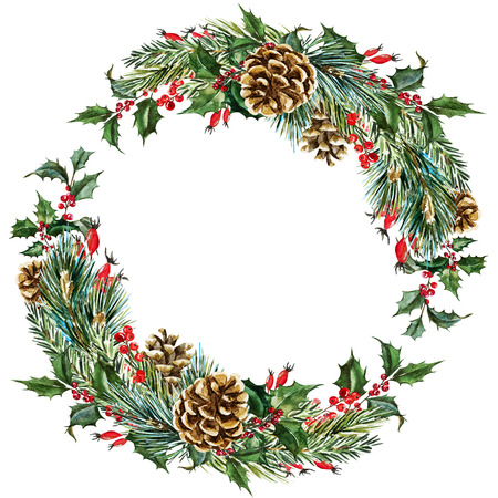 pine cones: Beautiful raster image with nice hand drawn watercolor christmas wreath