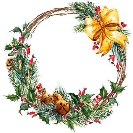 Aquarell-Weihnachtskranz Standard-Bild - 47373358