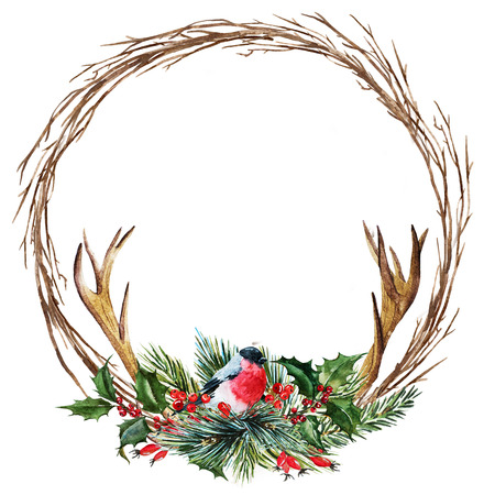 wreath christmas: Beautiful raster image with nice hand drawn watercolor christmas wreath