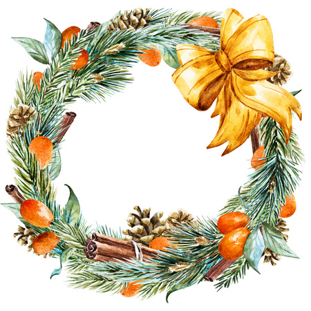 pines: Beautiful raster image with nice hand drawn watercolor christmas wreath