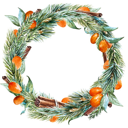 tangerine tree: Beautiful raster image with nice hand drawn watercolor christmas wreath