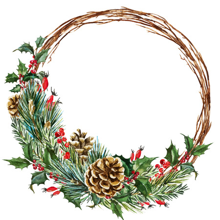 Beautiful vector image with nice hand drawn watercolor christmas wreath  イラスト・ベクター素材