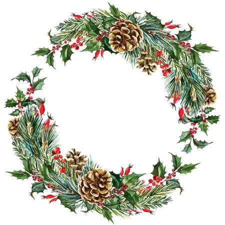 좋은 손으로 그린 수채화 크리스마스 화 환을 가진 아름 다운 벡터 이미지