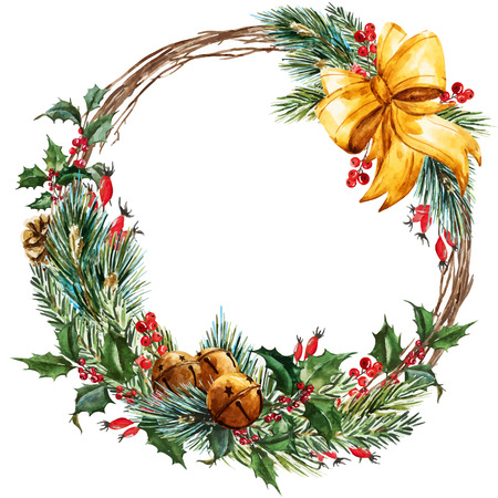 Beautiful vector image with nice hand drawn watercolor christmas wreath Illustration