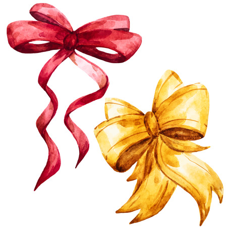 Beautiful vector image with nice hand drawn watercolor bows