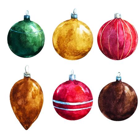 素敵な watercolr のクリスマスの装飾と美しいベクトル画像  イラスト・ベクター素材