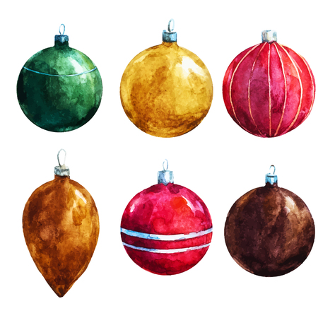 Beautiful vector image with nice watercolr christmas decorations
