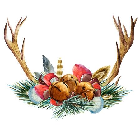 lemon tree: Beautiful vector image with nice hand drawn watercolor christmas wreath Illustration