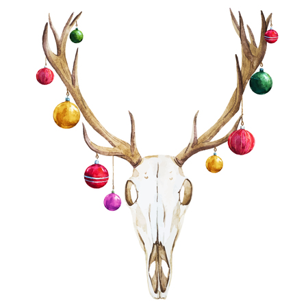 deer skull: Beautiful vector image with nice watercolor christmas deer skull Illustration