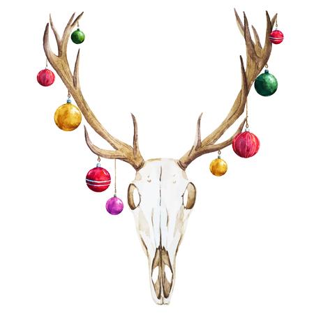 Beautiful vector image with nice watercolor christmas deer skull Illustration