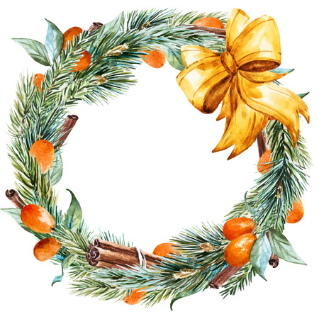 citrus tree: Beautiful vector image with nice hand drawn watercolor christmas wreath Illustration