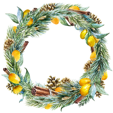 tangerine tree: Beautiful vector image with nice hand drawn watercolor christmas wreath Illustration