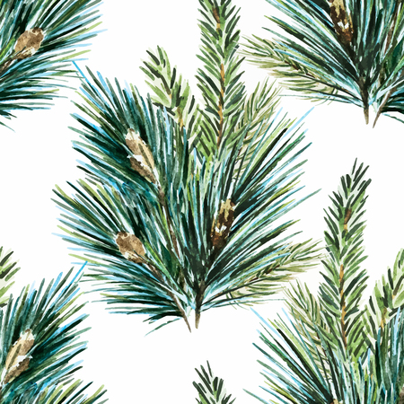 pine needles: Beautiful vector pattern with nice hand drawn watercolor christmas tree branches