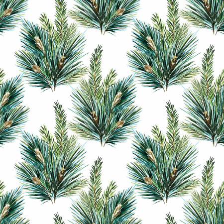 pines: Beautiful vector pattern with nice hand drawn watercolor christmas tree branches