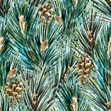 pomme de pin: Belle modèle vectoriel avec aquarelle établi des branches d'arbres de Noël belle main Illustration