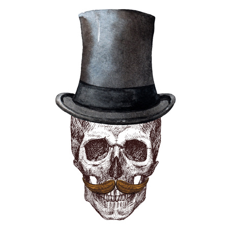 Beautiful raster image with nice skull with watercolor elemnts Stock Photo