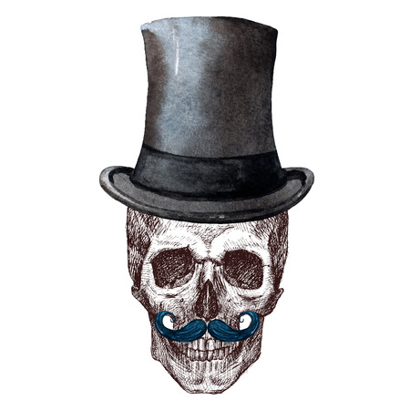 aristocrat: Beautiful raster image with nice skull with watercolor elemnts Stock Photo