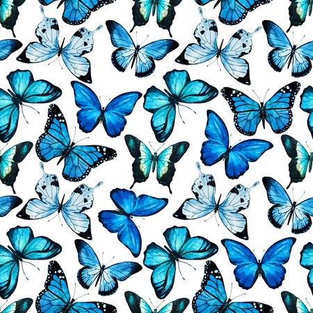 Beautiful raster pattern with nice watercolor butterflies