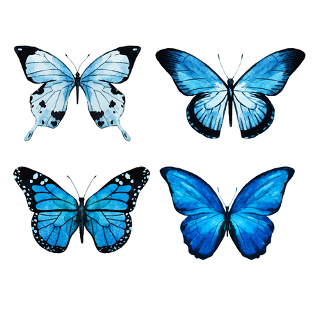 Beautiful vector image with nice watercolor butterflies
