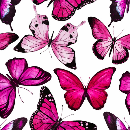 pink and black: Beautiful vector pattern with nice watercolor butterflies
