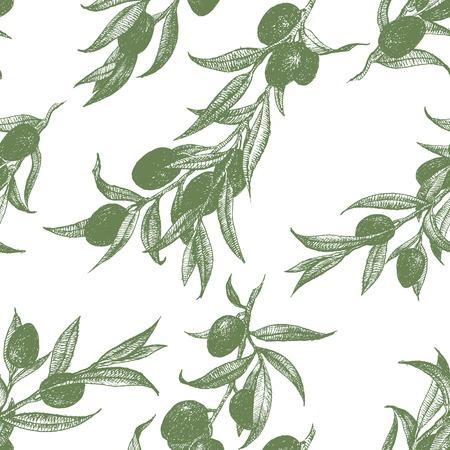 Beautiful vector pattern with nice hand drawn olieve Иллюстрация
