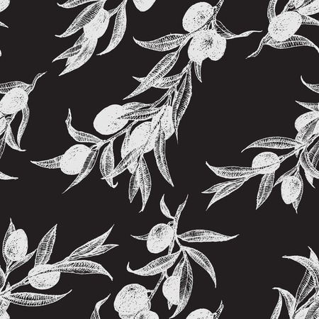 Beautiful vector pattern with nice hand drawn olieve Illustration