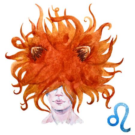 Beautiful raster image with nice watercolor horoscope Leo