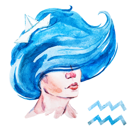 famous painting: Beautiful vector image with nice watercolor horoscope Aquarius