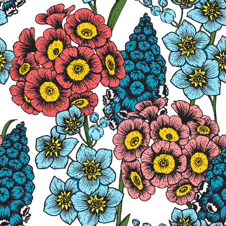 flower patterns: Beautiful vector image with nice hand-drawn floral pattern