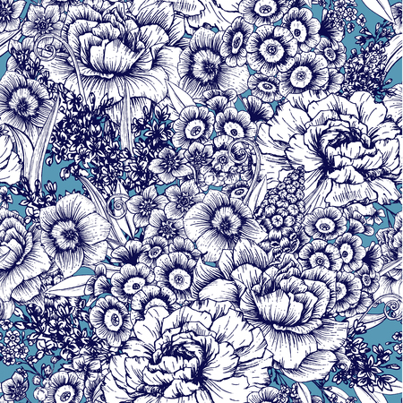 flower pattern: Beautiful vector image with nice hand-drawn floral pattern