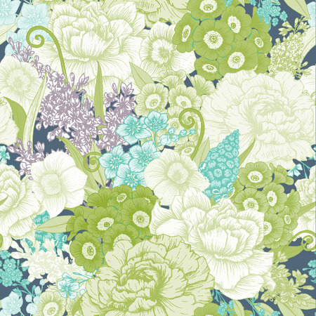 rose garden: Beautiful vector image with nice hand-drawn floral pattern