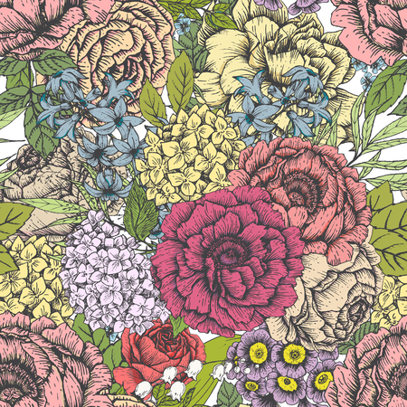 patrones de flores: Beautiful vector image with nice hand-drawn floral pattern