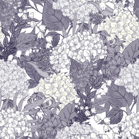 素敵な手描き花柄の美しいベクター画像