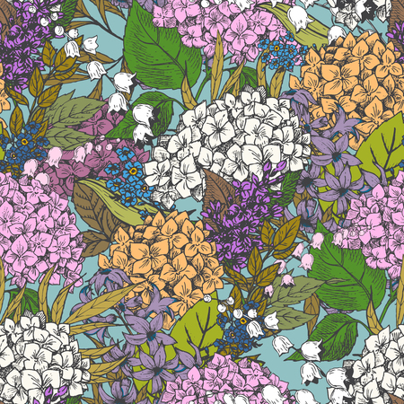 seamless pattern: Beautiful vector image with nice hand-drawn floral pattern