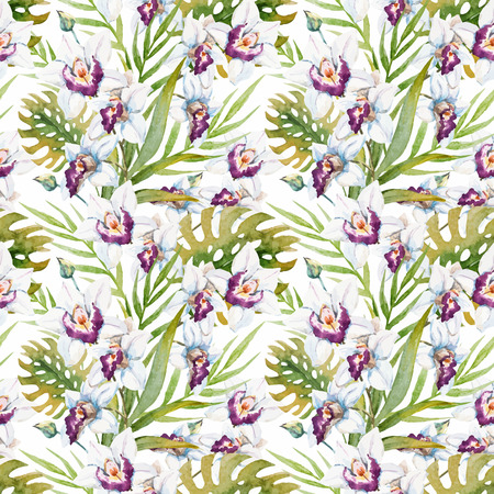 flower leaf: Beautiful vector pattern with nice watercolor tropical orchid flowers Illustration