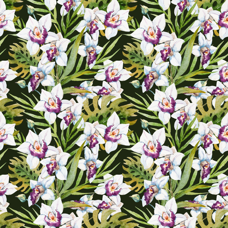 thai orchid: Beautiful vector pattern with nice watercolor tropical orchid flowers Illustration