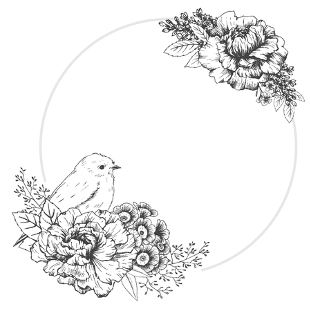 flower shape: Beautiful vector image with nice hand drawn frame with bird Illustration