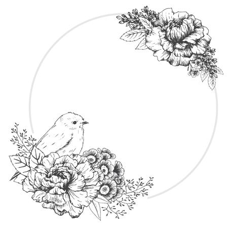 silhouette fleur: Belle image vectorielle avec cadre agréable dessiné à la main avec des oiseaux Illustration
