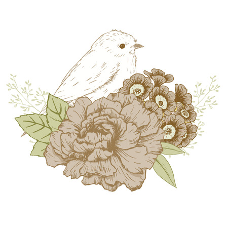 white fly: Beautiful vector image with nice hand drawn bird with flowers Illustration