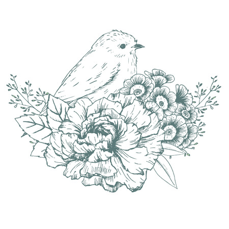 white roses: Beautiful vector image with nice hand drawn bird with flowers Illustration