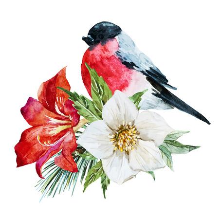 Imagen hermosa del vector con bonitas flores de la acuarela con el pájaro