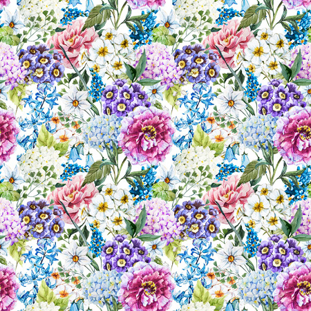 Watercolor floral pattern 版權商用圖片 - 48712453
